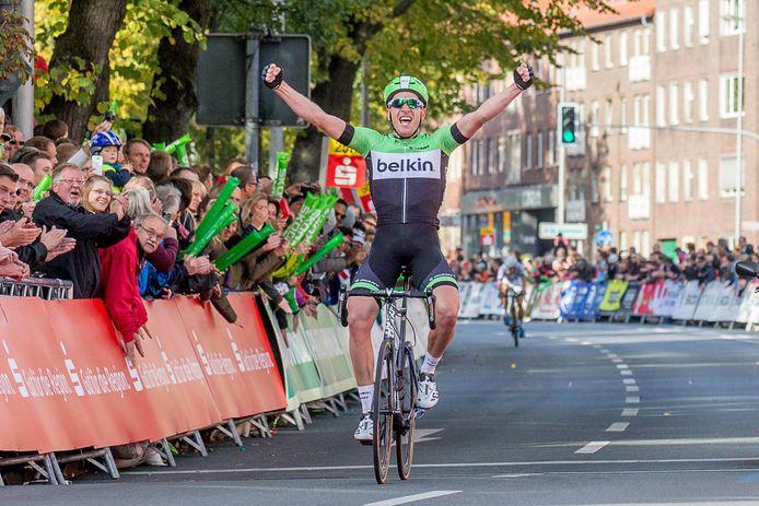 Een winnaar uit het verleden: Jos van Emden wint in 2013 de Münsterland Giro, net voor Tom Veelers uit Ootmarsum.
