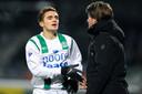 Tadic met Pieter Huistra, zijn trainer bij FC Groningen.