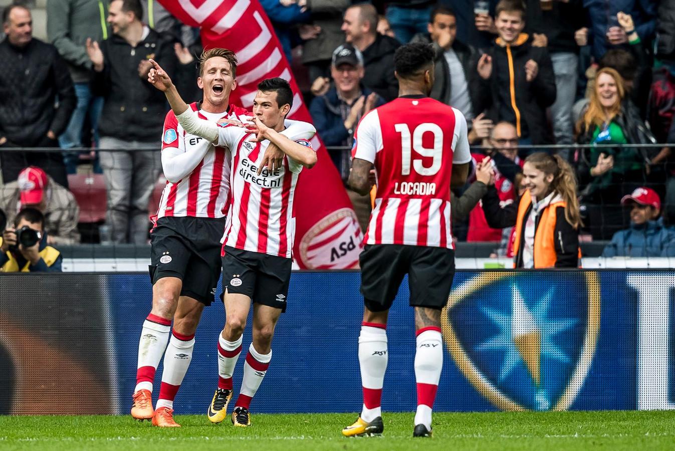 Het aanvalstrio van PSV: Luuk de Jong, Hirving Lozano en Jürgen Locadia.