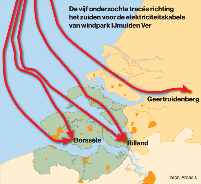 De vijf onderzochte tracés richting het zuiden voor de elektriciteitskabels van windpark IJmuiden Ver. Het traject door Schouwen-Duiveland en Tholen doet inmiddels niet meer mee.