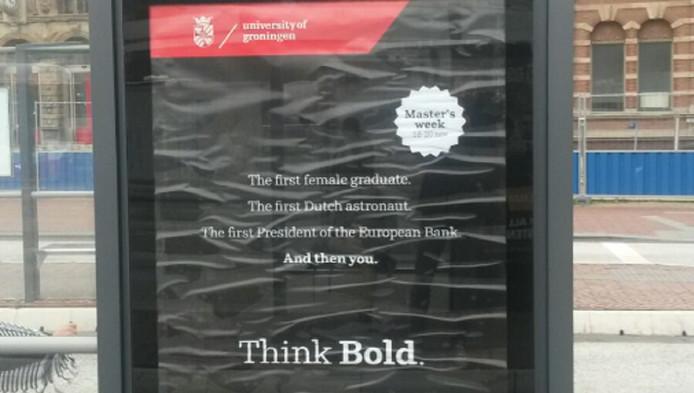 De reclame voor Universiteit Groningen in studentenstad Delft.