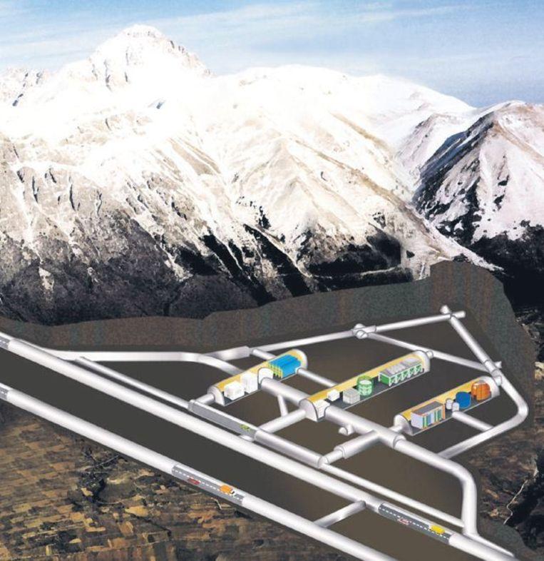 De detector is opgesteld in een grot onder de Gran Sasso, in de Apennijnen. De grot is een zijgrot van een autotunnel. De 1200 meter dikke rotslaag beschermt de detector tegen invloeden van buitenaf, zoals kosmische straling. Beeld
