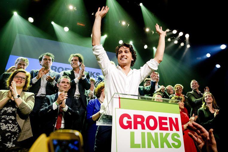 Jesse Klaver van GroenLInks reageert op de verkiezingswinst van zijn partij. Beeld epa