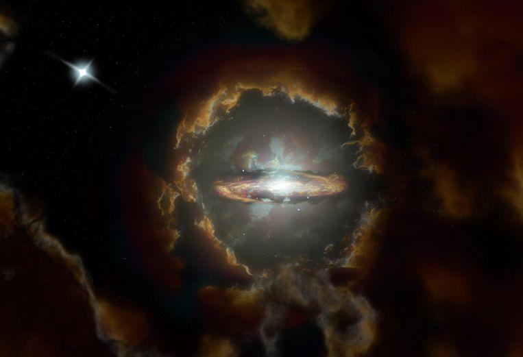 Tekening van de 'onmogelijke' Wolfe-schijf, een plat sterrenstelsel dat anderhalf miljard jaar na de geboorte van het heelal al ontstond. Beeld S. Dagnello