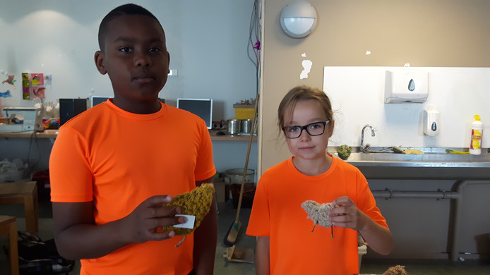 Denzel (9) en Evi (7) met hun zelfgemaakte schaapjes.