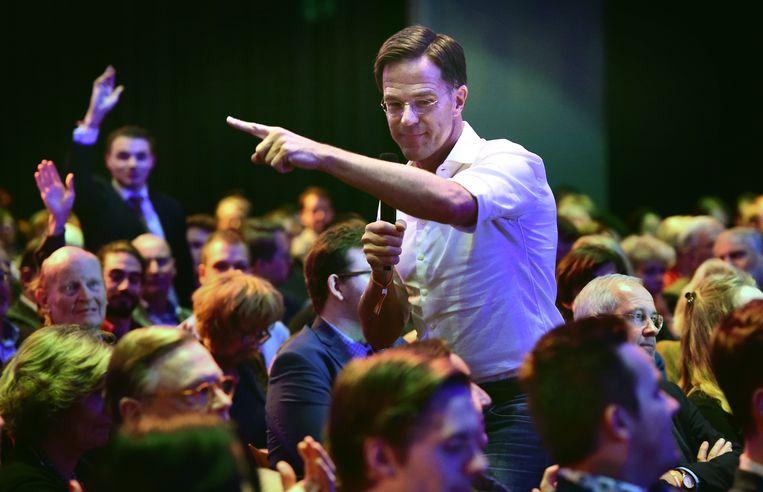 Premier Mark Rutte op het 'partijfestival' van de VVD. Beeld Marcel van den Bergh / de Volkskrant