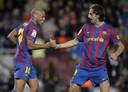 Thierry Henry en Zlatan Ibrahimovic als teamgenoten bij FC Barcelona in het seizoen 2009/2010.