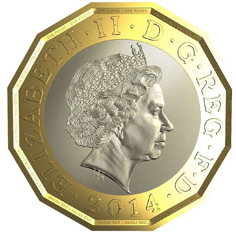 Het prototype van de nieuwe munt van een pond Beeld Royal Mint