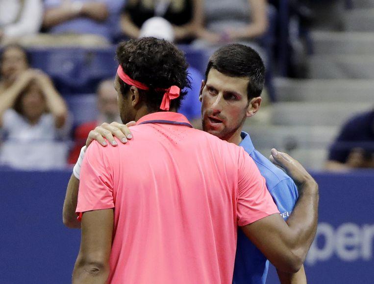 Het was al de derde keer deze US Open dat Novak Djokovic de wedstrijd niet hoefde uit te spelen. Beeld AP