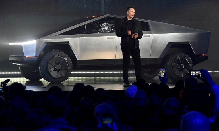 Tesla-CEO Elon Musk bij de voorstelling van de Cybertruck in november.