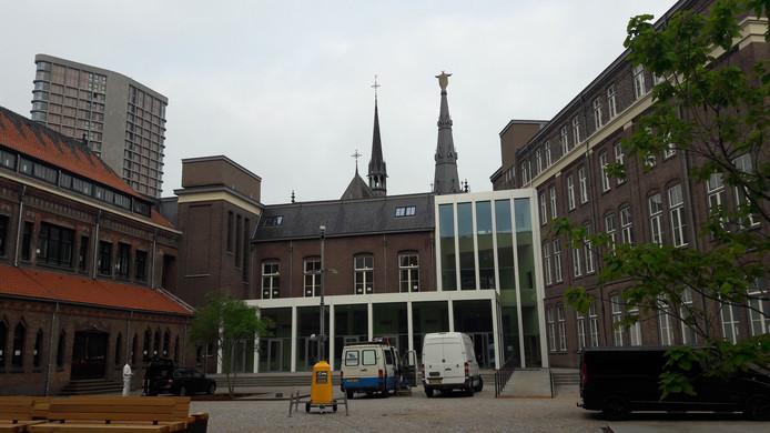 De binnenplaats van het complex Mariënhage dat omgebouwd wordt tot DomusDELA. In het nieuwe deel komt een restaurant.
