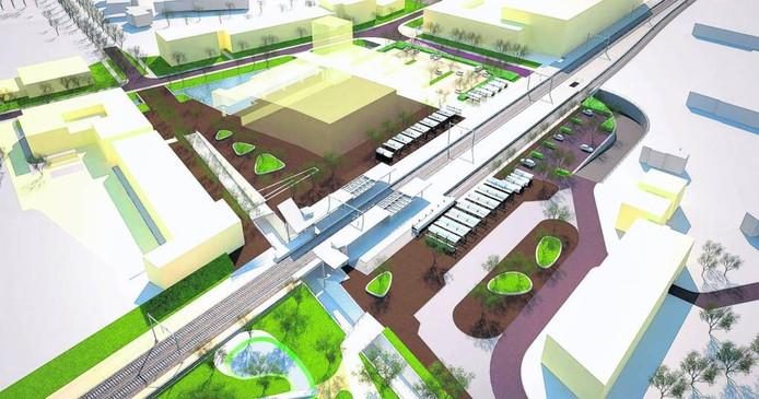 De zuidelijk om het station geplande slingertunnel.