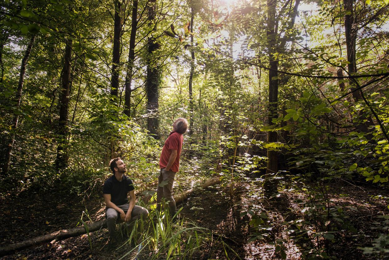 Casper en Jan van der Kooi in Burgum. De natuur zoemt door hun werk. Beeld Eva Faché