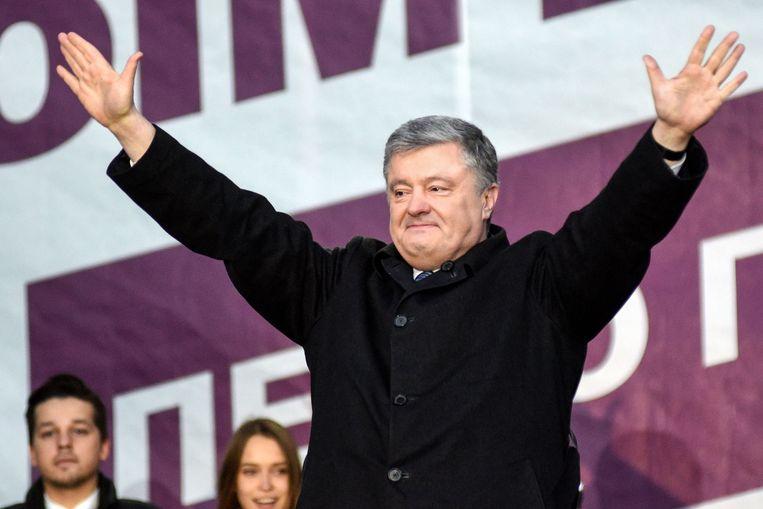 Petro Porosjenko (53) is de vijfde president van Oekraïne sinds de onafhankelijkheid van het land in 2011. Hij doet zondag een gooi naar een tweede termijn. Beeld AFP