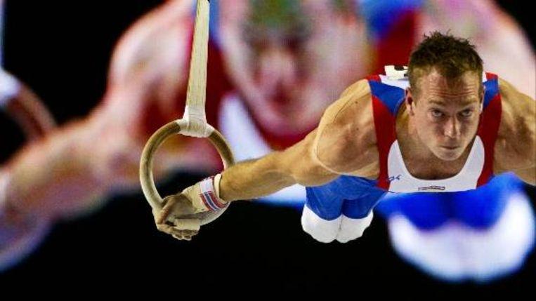Yuri van Gelder in actie tijdens de WK-kwalificaties van het onderdeel ringen in Gent. ( ANP) Beeld