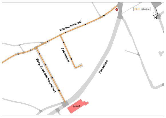 De gewijzigde verkeerssituatie in de Burg. E. De Sadeleerstraat en Windmolenstraat in Haaltert.