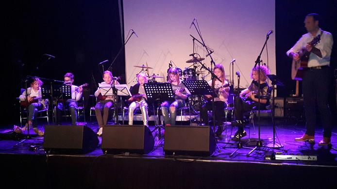 Het optreden van het Groot Boxtels Ukelele Orkest.