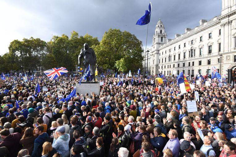 Anti-Brexit-demonstranten zaterdag tijdens een mars in Londen. Beeld EPA