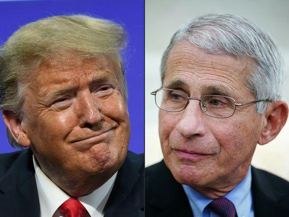 De Amerikaanse president Trump en zijn adviseur Anthony Fauci.