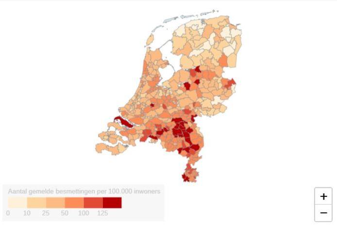 Relatief aantal besmetting coronavirus in Nederland