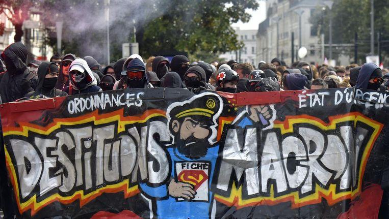 Demonstratie tegen de Franse president Macron. Beeld AFP
