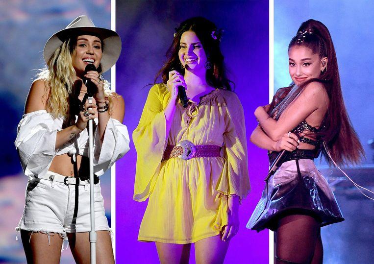 Miley Cyrus, Lana Del Rey en Ariana Grande.