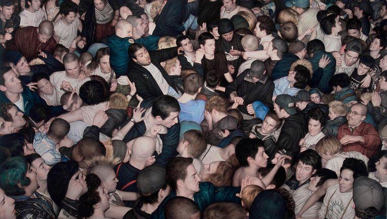 Een knokkende mosh pit bij een hiphopshow: het was even geleden, maar voelde al bijna weer als vanouds. Beeld Dan Witz, courtesy of thegarageamsterdam.com