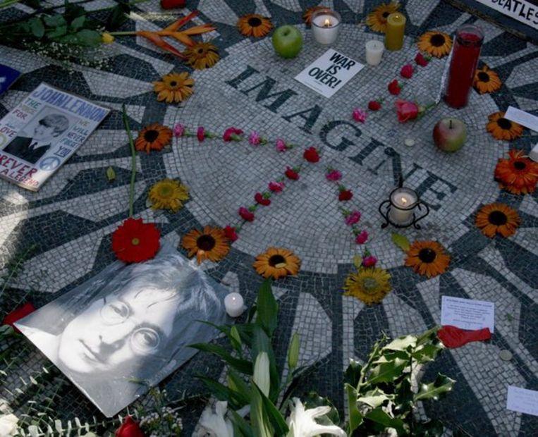 Het 'Imagine' mozaiek in Central Park New York. Foto EPA/Justin Lane Beeld