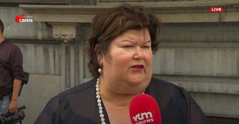 Minister van Volksgezondheid Maggie De Block (Open Vld) na afloop van de Nationale Veiligheidsraad van maandag 27 juli.