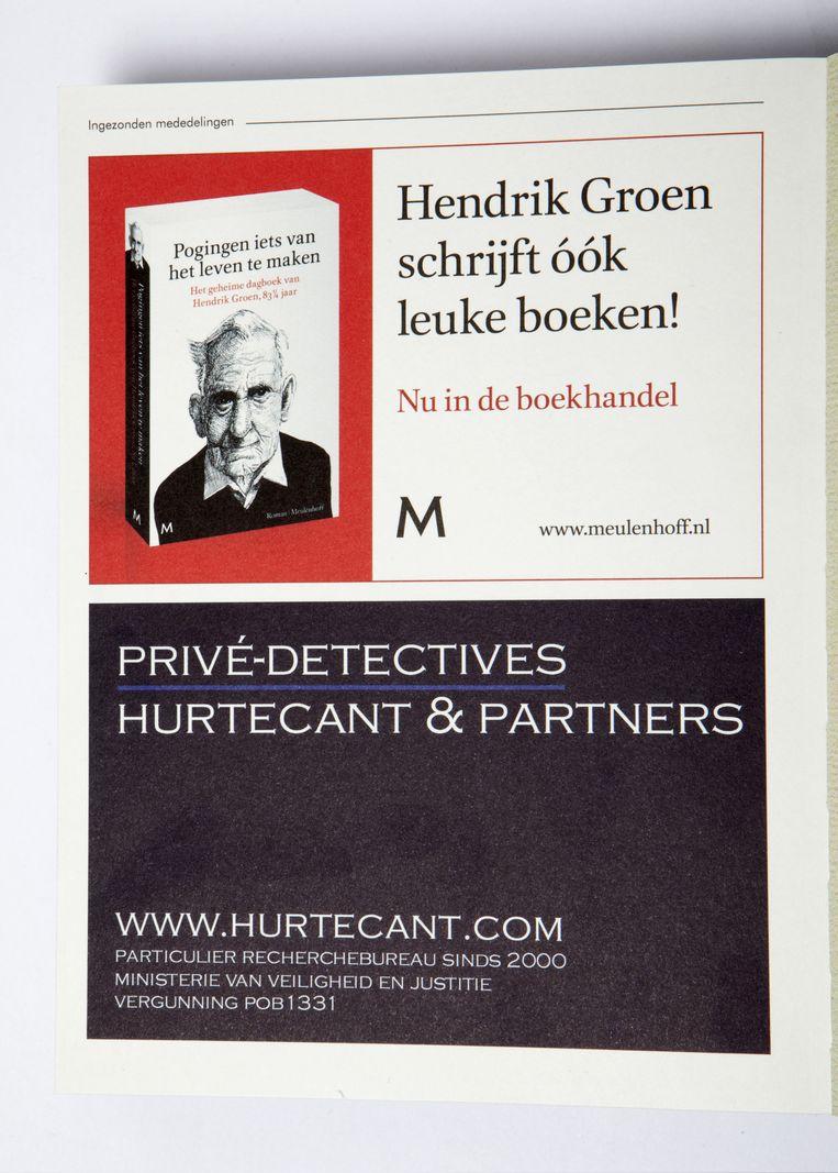 De pagina in Carel Helders boek CV, uit 2015, waarop niet alleen, opmerkelijk, een advertentie staat voor Hendriks Groens boeken, maar ook reclame wordt gemaakt voor detectivebureau Hurtecant. Beeld studio V