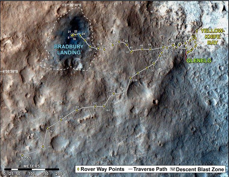 De route die Curiosity tot nu toe heeft afgelegd. Beeld NASA