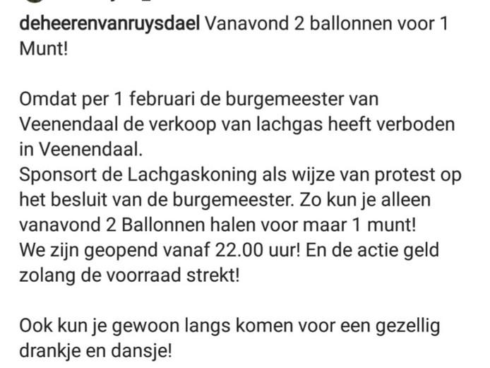 Het inmiddels verwijderde Instagram-bericht van café De Heeren van Ruysdael in Veenendaal.
