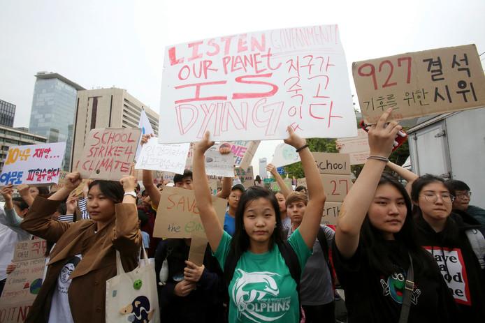 In Seoul, Zuid-Korea, trokken studenten vandaag op naar het huis van de president.