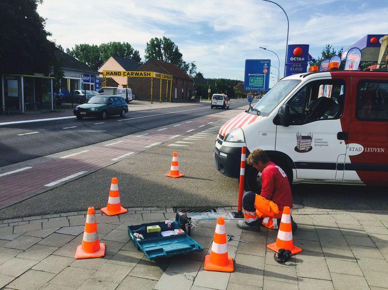 Een stadsarbeider herstelde gisteren het fietspad op de hoek van de Aarschotsesteenweg met de Oudstrijderslaan, dichtbij freinetschool De Krullevaart.