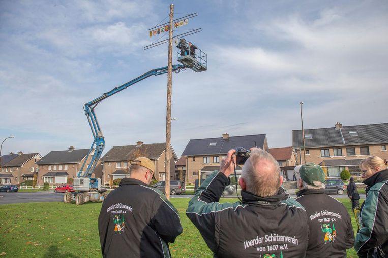 Met een hoogtewerker werden vorig jaar nog vier extra schilden aan de vriendschapsboom gehangen (archieffoto).