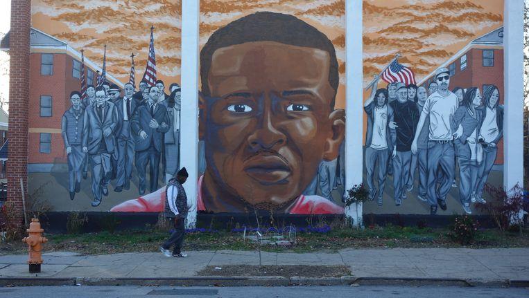 Een muurschildering met de beeltenis van Freddie Gray in West-Baltimore, waar hij woonde. Beeld null