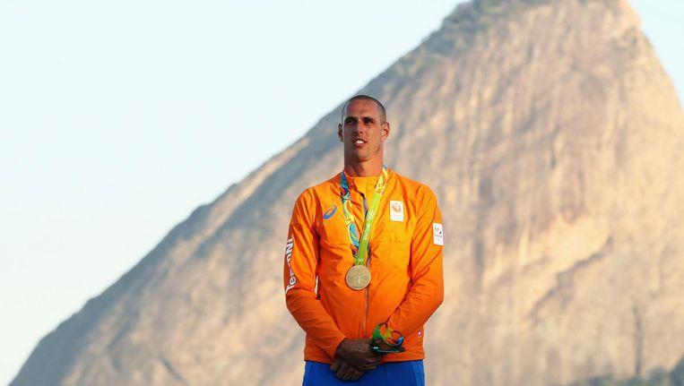 Dorian van Rijsselberghe won zondag goud tijdens de medalrace. Beeld null