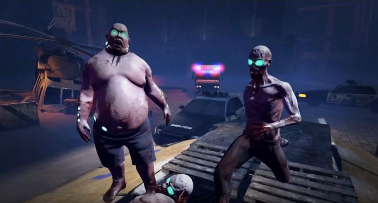 Beeld uit de VR-zombiegame Outbreak Origins die te spelen is bij Zero Latency.  Beeld Zero Latency