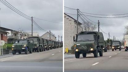 """Video colonne legervoertuigen in Zellik circuleert op sociale media: """"Dit is fake news"""""""