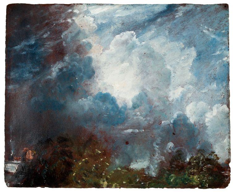 Wolkenstudie, ca. 1821-1822, olieverf op papier  Beeld John Constable / Teylers Museum