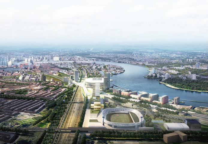 Zicht op Feyenoord City, met de huidige Kuip en in de verte het nieuwe stadion.