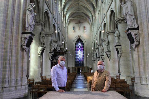 Schepen Anciaux en Eric Stroobants, voorzitter Kerkfabriek Lieve-Vrouweparochie en Centraal Kerkbestuur