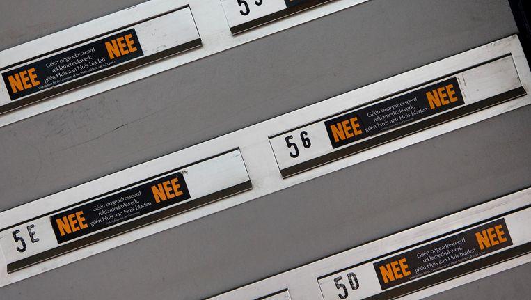 De NEE/NEE-sticker, die binnenkort gaat verdwijnen. Beeld anp
