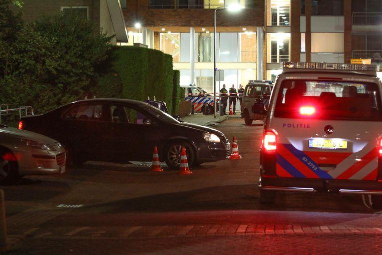 De Volkswagen Jetta van Bogaerts. De man zat nog in z'n auto toen hij vijf kogels door het lijf kreeg.