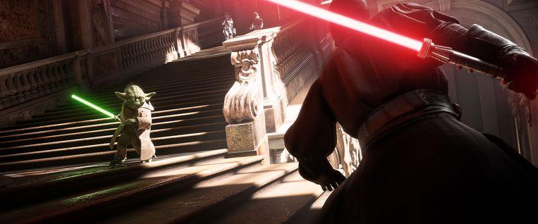 Beeld uit Star Wars Battlefront II, de game die eind vorig jaar de discussie over de wenselijkheid van loot boxes - vaak betaalde extra items - in gang zette Beeld EA