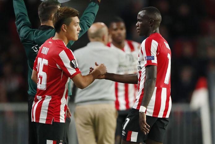 Ritsu Doan en Armindo Bruma, twee van de vele PSV-aankopen dit seizoen.