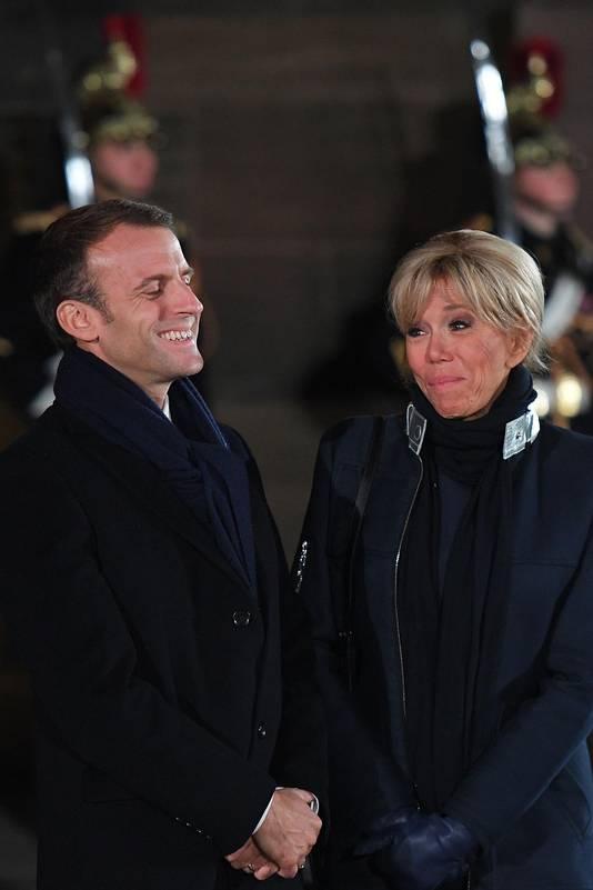 Le président Emmanuel Macron et son épouse, à Strasbourg pour le début des commémorations.