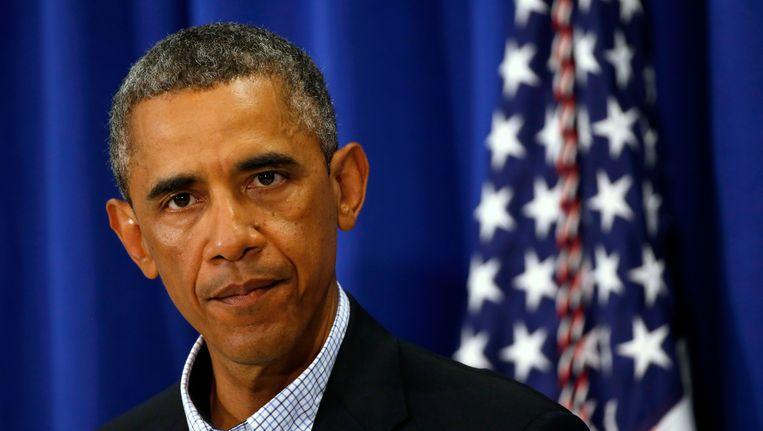 De Amerikaanse president Barack Obama tijdens zijn persconferentie. Beeld REUTERS