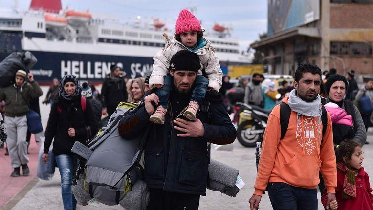 Vluchtelingen op Lesbos. Beeld null