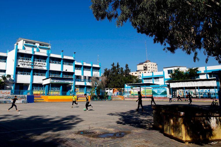Een school van de VN-hulporganisatie UNRWA in Gazastad. Beeld AFP